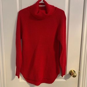 SEVEN SISTERS red knit cowl neck sweater